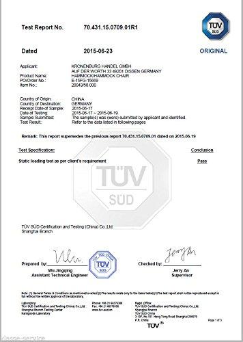Kronenburg Hängesessel / Hängestuhl XL mit Querholz – Belastbarkeit bis 150 kg Beige - 3