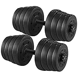 commercial YAHEETECH 66lb Weight Dumbbell Set Fitness Adjustable Cap Gym / Home Dumbbell Body Training… cap home gym