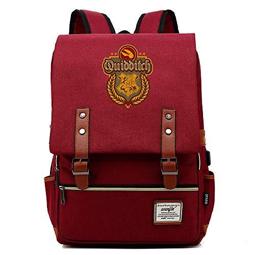 Hogwarts Mochila, Quidditch Mochila portátil, con Puerto de Carga USB, Bolsa de Viaje de Ocio Universitario Unisex Vino Tinto
