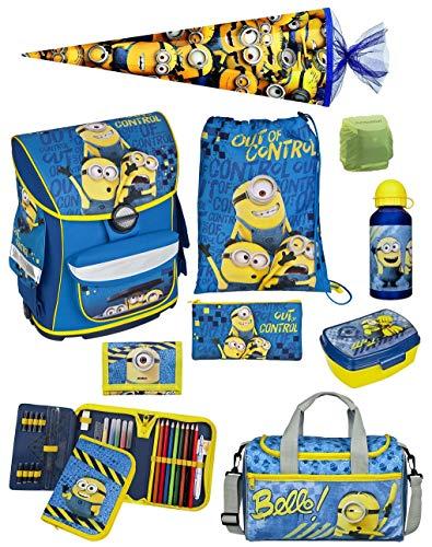 Familando Schulranzen-Set Minions 10 TLG. mit Federmappe, Sporttasche, große Schultüte 85cm und Regenschutz