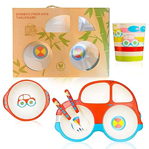 Baby teller Kindergeschirr Set aus Bambus 5 teilig wmf besteck trinkbecher geschenk geburt geschenk box