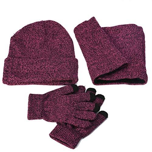 LLmoway Women Beanie Hat Loop Scarf Touchscreen Gloves Winter Warm Set Slouchy Knit Ski Cap Purple
