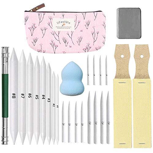 HO2NLE 25 Stücke Papierwischer Set 20 Blending Stumps Set/Estompen Set/Tortillionen Set/ 2 Schleifpapier-Schärfpads 2 Knetgummi Radiergummis & 1 Filztasche für Student Skizze Zeichnen