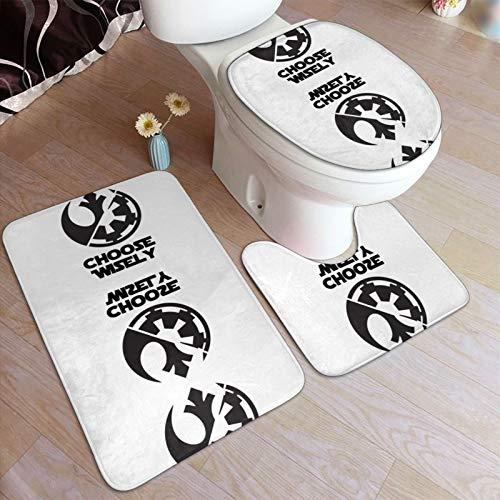 S-Tar Wa-Rs Reb-El Alli-Ance - Juego de alfombrillas antideslizantes para baño y pedestal en forma de U para el suelo de baño 3 piezas