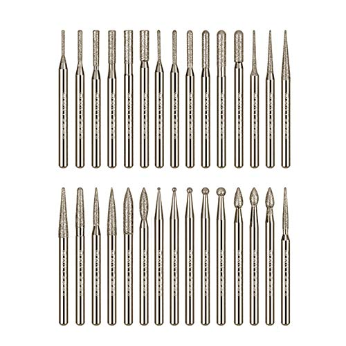Gasea 30pcs 2.35mm Shank Diamond Coated Rotary Burr Drill Bits for Engraving Carving Dremel Rotary Tool