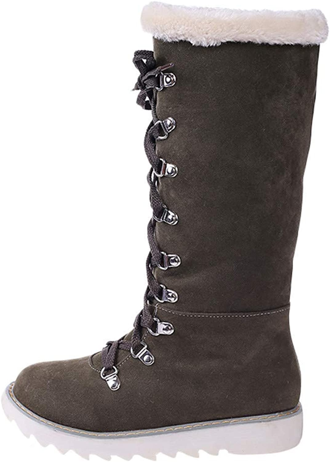 Lady Boots Women's shoes Platform Lace Up The Knee Anti Slip Round Toe Martin Snow Boots Wild Tight Super Casual Quality for Womens