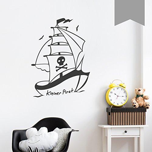WANDKINGS Wandtattoo Piratenschiff, Kleiner Pirat 93 x 125 cm Mittelgrau - erhältlich in 33 Farben