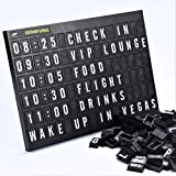 Airport Style Any Occasion Decorations Sign Cinema Message Letter Board 11.8x8.3 Inches.Aviation Travel Changeable Letter Boards Include 4 Themed Headers And Retro Station Letters Black 264 Tiles