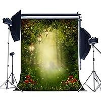 5x 7ft laeaccoビニール写真バックドロップばねWonderful Mysterious Garden Sunshineシーン背景Moon and Green Grassシーンフォトスタジオ小道具カスタマイズ