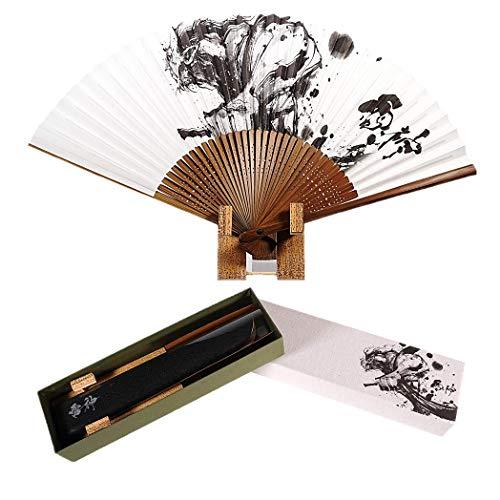 【墨絵扇子】 「 雷神 」 創業400年 老舗 伊場仙 製作 | 扇子立て 扇子袋 ギフトBOXセット