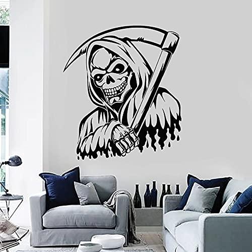 Scary Grim Reaper Hoodie Sickle Night Skull Darkness Death Scythe Vinilo Etiqueta de la pared Calcomanía para coche Dormitorio de niño Sala de estar Club Studio Decoración para el hogar Mural