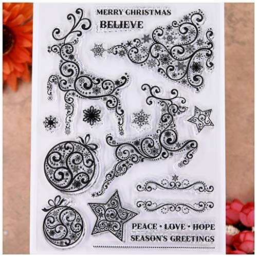 KWELLAM Merry Christmas Deer Ball Star Tree Snowflake PEACE LOVE HOPE Clear Stamps for Card Making Decoration and DIY Scrapbooking