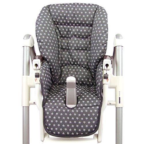 BambiniWelt - Funda de asiento de repuesto para Peg Perego Prima Pappa Diner Sterne (estrellas gris oscuro) XX