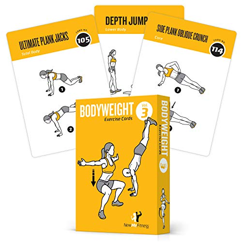 """Exercise Cards BODYWEIGHT - Home Gym Workout Personal Trainer Fitness Program Tones Core Ab Legs Glutes Chest Biceps Total Upper Body Workouts Calisthenics Training Routine (3.5""""x5"""", English Vol 3)"""