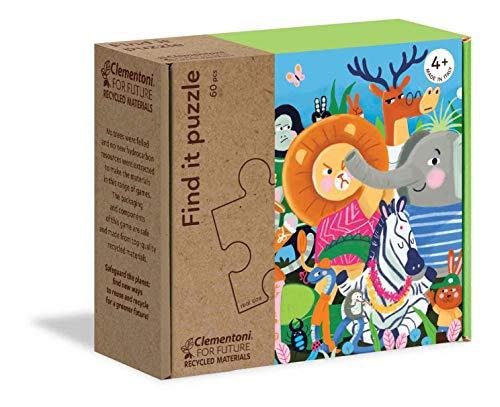 Clementoni - 16220 - Find It Puzzle - Together, puzzle bambini 4 anni, gioco educativo, puzzle bambini 60 pezzi - Made in Italy - Play For Future, cartone 100% riciclato