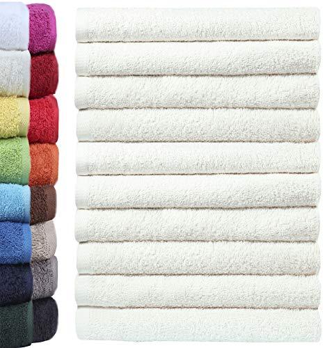 Lot de 10 gants de toilette NatureMark - 100 % coton - Dimensions : 30 x 30 cm - Couleur : naturel/crème