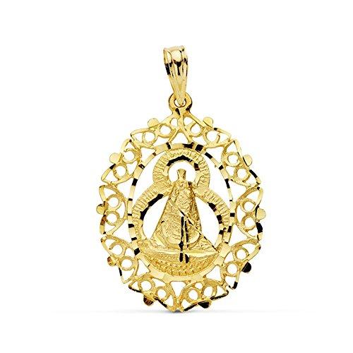 Medalla Oro 18K Virgen Cabeza Cerco 28mm. [Ab0771]