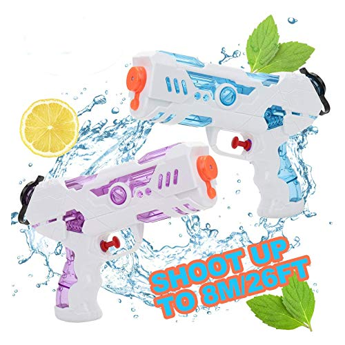 KATELUO Pistolas de Agua, 2 Pack 250ML Blaster de Agua para Verano Piscina Al Aire Libre Playa Diversión Acuática para Niños Adultos, Soaker Guns para Niños Años Adultos, Juguetes de Verano