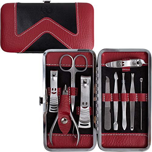 Set di tagliaunghie per manicure e pedicure, in acciaio inox, strumenti per unghie, kit tagliaunghie, regalo perfetto per donne e uomini, con rimuovi cuticole e custodia, portatile, da viaggio