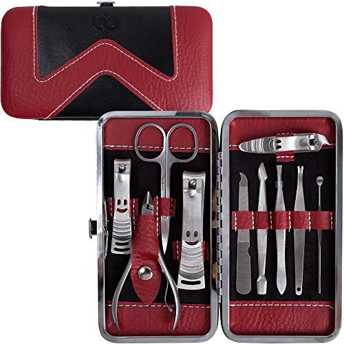 Beauty Bon® Kit d'accessoires de Manucure Pédicure 10 pièces en acier inoxydable incluant coupe-ongles, coupe cuticules avec étui de voyage portable