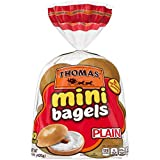 Thomas' Plain Mini Bagels, Great for Before or After School Snack, 10 count, 15 oz