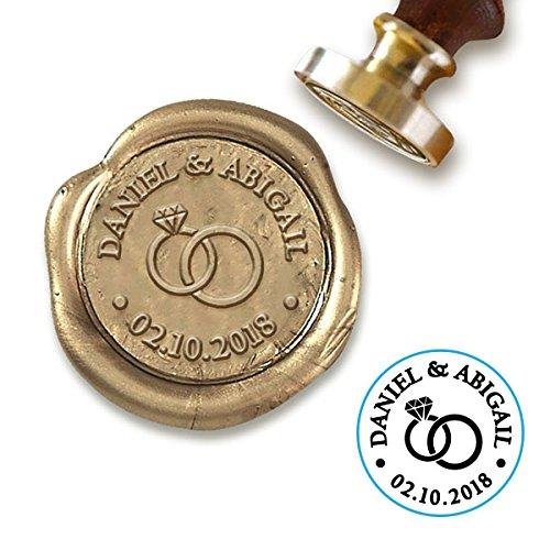 "Custom Wax Seal Stamp Kit with Sealing Wax-1"" Die with Wedding Rings/Names/Date"