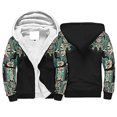 Niersensea Damen Herren Sherpa Lined Kapuzenpullover Jacke Sweatshirts Krieger Ägypten Indien Maya Azteken 3D Druck Hoodies Kapuzen-Sweatshirt Sweatjacke mit Reißverschluss White 3XL