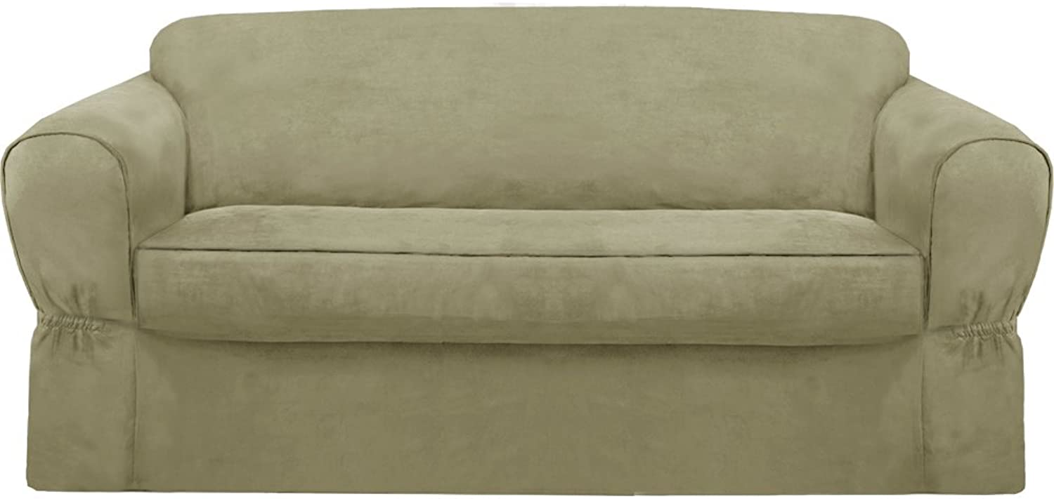 MAYTEX Piped Suede 2-Piece Sofa Furniture Cover Slipcover, Sage