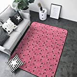 Bedroom Living Room Area Rug Pig Decor Collection,Smiley Square Faced Little Pigs Eyes Noses Crowd Herd of Animals Pattern,Pink Bubblegum 48'x 72' Carpet Flooring