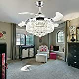 Ventilador de techo de cristal de 100 cm, 50 W, con iluminación LED, lámpara colgante con mando a distancia