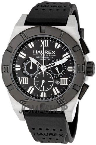 HAUREX ITALY Challenger 2 Chronograph Black Dial Watch #3D350UNN- Orologio da uomo