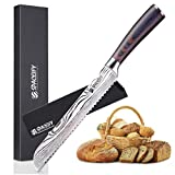 8 inch Serrated Bread Knife, SPACEIFY Ultra Sharp High Carbon Stainless Steel with a Knife Protector, Chef Recommended for Slicing Homemade or Bakery Bread, Wooden Handle, Exceptional Edge Retention
