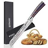 Cuchillo de pan SPACEIFY ligero para corte delicado y preciso, cuchillo de pan alemán de acero inoxidable con mango ergonómico, cuchillos de cocina para corte y corte profesional