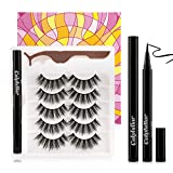 Calphdiar Self-Adhesive Eyeliner Kit, Upgrade Magic Eyeliner and Soft Reusable Faux Mink Lashes 5 Pairs, Magic Eyelashes and Eyeliner
