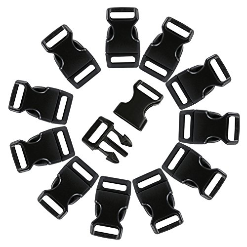 LIHAO 120pcs 3 / 8 'Plastic Buckles Backpack Buckles (Black)