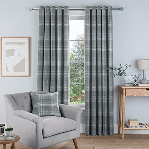 Sleepdown Cortinas Tejidas cepilladas con Ojales para Dormitorio y Sala de Estar, 100,6 x 172,8 cm, 2 Paneles, Color Gris