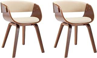 vidaXL 2X Sillas de Comedor Madera y Cuero Sintético Decoración Mobiliario Casa Cocina Salón Sofás Sillones Asientos Muebles Estilo Diseño Color Crema