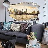 Sonnenuntergang Manhattan 3D Wandtattoo New York Skyline XXL Wandposter Stadt Wandsticker 40x24 cm
