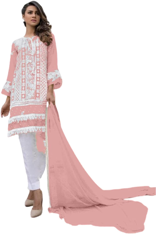Pink Faux Georgette Muslim Women Party Wear Indian Pakistani Straiight Suit Hit Design 6653