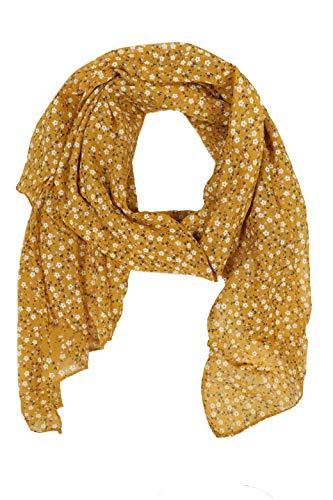 Zwillingsherz Seiden-Tuch im Blümchen Design - Hochwertiger Schal für Damen Mädchen - Halstuch - Umschlagstuch – Pashmina - Loop - weicher Schlauchschal für Frühjahr Sommer Herbst Winter - gelb