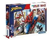 Clementoni 23734 Clementoni-23734-Supercolor Puzzle-Spiderman-104 Maxi Teile, Mehrfarben