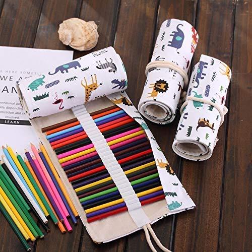 HYZXK 48 Ranuras de Dibujos Animados con Estampado de Animales Bolsa de bolígrafo Lienzo lápiz Abrigo Cortina Enrollable Estuche de lápices Estuche de papelería/m