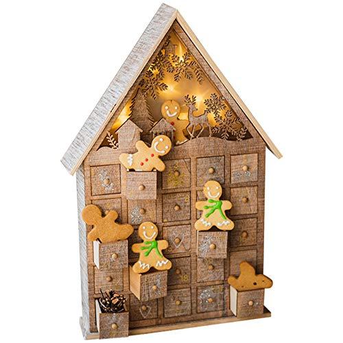 Adventskalender met 25 lades, houten structuur met LED-verlichting, leuke kerstversieringen, aftellende decoratieve bonbondoos voor kinderen en volwassenen