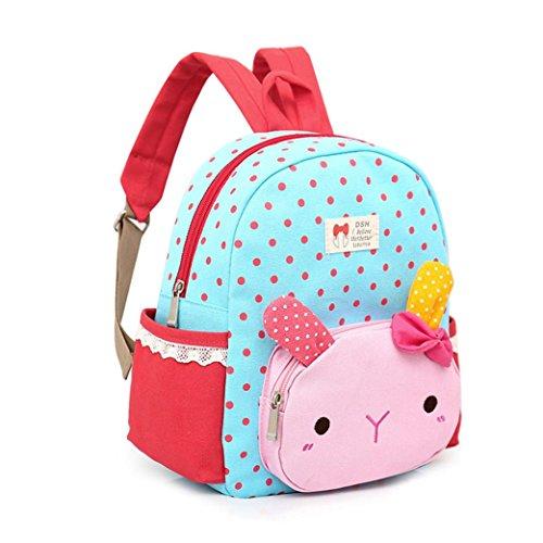 Longra Kinderrucksack Kindergartentasche Kindergartenrucksack Cartoon Kaninchen Rucksäcke Cartoon Kinder Schulrucksäcke Baby Jungen Mädchen Kleinkind Tier Schule Tasche Rucksack (Blue)
