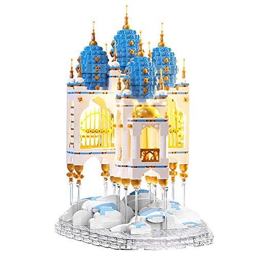 LYXCM De Bloques de construcción de Modelo de Castillo de Cielo Azul, Equipo de Ladrillos de Juguetes de Modelo de Arquitectura Famosa con luz | Juegos de Rompecabezas 3D para