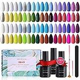 Esmaltes Semipermanentes 43 pcs, Arlega 36 Colores Uñas en Gel UV LED, Kit de Esmaltes de Uñas...