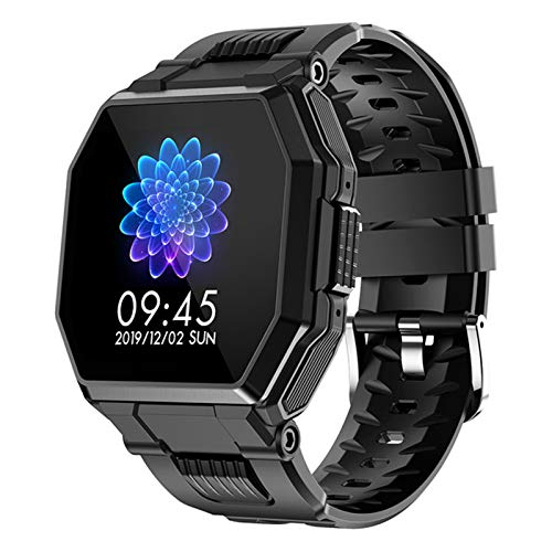 LJMG Smart Watch, Llamada de Bluetooth de los Hombres, Música, IP67 Impermeable, SmartWatch Monitor de Ritmo cardíaco Femenino Deportes al Aire Libre Reloj de táctil Completo,A