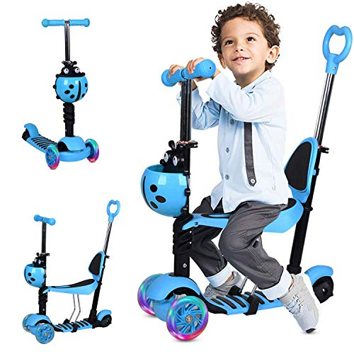 Photo of Hello-5ive 3 Wheels Kids Scooter for Toddler Age 1-8, Lightweight Kick Scooter with Flashing LED Light UP Wheels, Push Scooter with Adjustable Removable Seat, Handlebar&Push Handle for Boys Girls