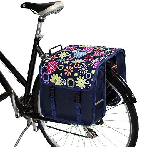 BikyBag Classico - Borse Doppio Portapacchi Bici da Ciclismo (Fiori Margherita Rosa)