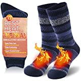 Men's Winter Thermal Slipper Socks, Warm Thermal Boot Socks Striped Insulated Heated Ski Socks for Extreme Cold Weather Heavy Thick Cozy Hiking Socks Athletic Comfort Skating Socks 1 Pair